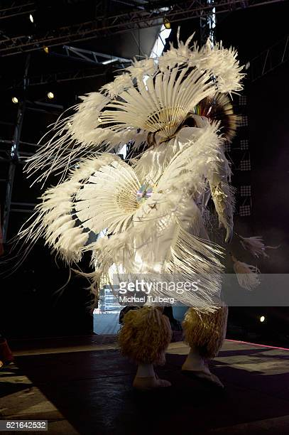 A dancer performss onstage during day 2 of the 2016 Coachella Valley Music Arts Festival Weekend 1 at the Empire Polo Club on April 16 2016 in Indio...