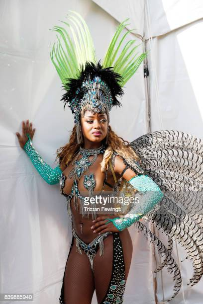 A dancer poses at the 'Red Bull Music Academy Soundsystem' at Notting Hill Carnival 2017 on August 27 2017 in London England