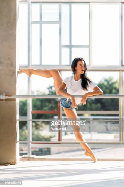 dancer practicing at the barre - ballet dancer stock pictures, royalty-free photos & images