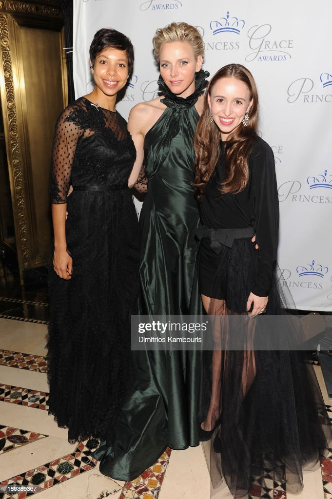 Dancer Rachelle Anais Scott, HSH Princess Charlene of Monaco and Skylar P. Brandt attend the 2013 Princess Grace Awards Gala at Cipriani 42nd Street on October 30, 2013 in New York City.