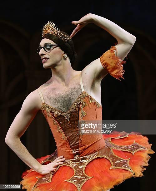 Dancer Raffaele Morra from Les Ballets Trockadero de Monte Carlo performs a scene from Raymonda's Wedding during the dress rehearsal before the...