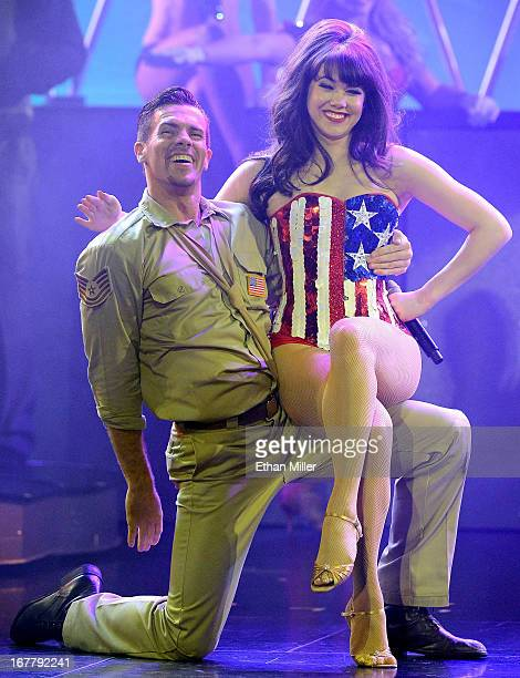Dancer Ryan Kelsey and model Claire Sinclair perform during the premiere of the show Pin Up at the Stratosphere Casino Hotel on April 29 2013 in Las...