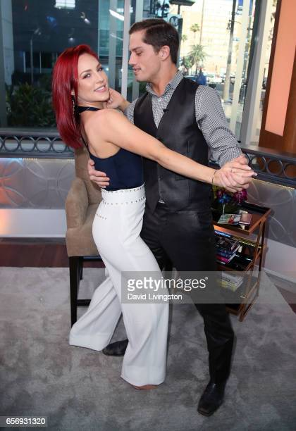Dancer Sharna Burgess and bull rider Bonner Bolton visit Hollywood Today Live at W Hollywood on March 23, 2017 in Hollywood, California.