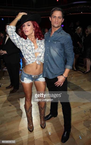Dancer Sharna Burgess and model Bonner Bolton attend 'Dancing with the Stars' Season 24 premiere at CBS Televison City on March 20 2017 in Los...