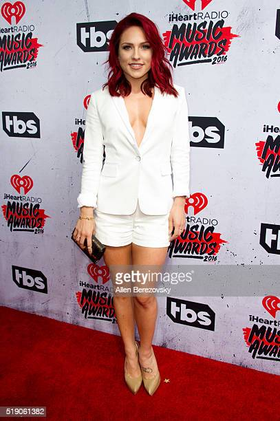 Dancer Sharna Burgess arrives at the iHeartRadio Music Awards at The Forum on April 3 2016 in Inglewood California