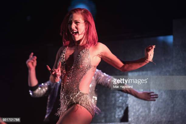 Dancer Sharna Burgess performs on stage during Dancing With The Stars Live at WaMu Theater on March 13 2018 in Seattle Washington