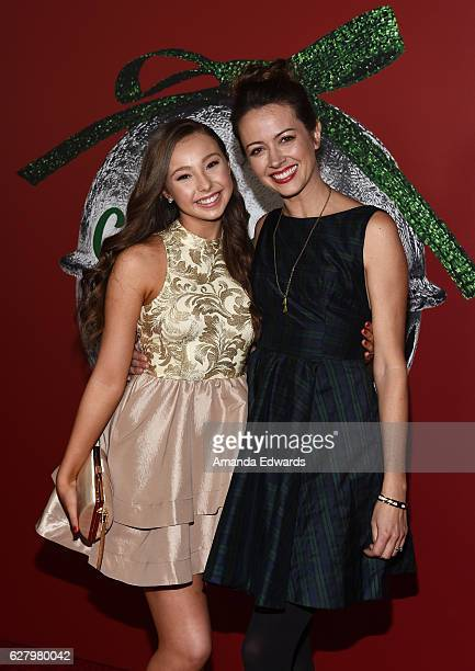 dancer sophia lucia and actress amy acker arrive at a screening of hallmark channels a