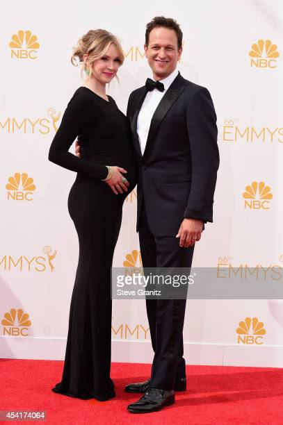 Dancer Sophie Flack and actor Josh Charles attend the 66th Annual Primetime Emmy Awards held at Nokia Theatre LA Live on August 25 2014 in Los...