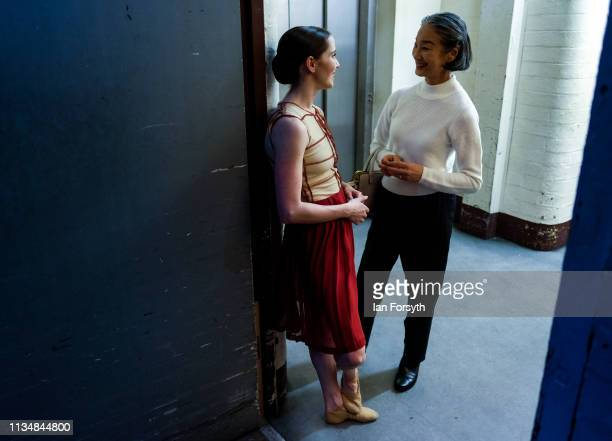 A dancer speaks to Yoko Ichino Rehearsal Director between the acts during the World Premier of Northern Ballet's performance of 'Victoria' at Leeds...