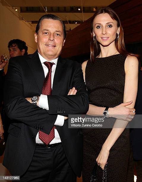 Dancer Svetlana Zakharova and Audemars Piguet CEO Philippe Merk attend a cocktail party for the Royal Oak 40 Years From AvantGarde to Icon exhibition...