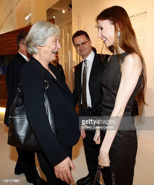 Dancer Svetlana Zakharova and President of Audemars Piguet Board of Directors Jasmine Audemars attend a cocktail party for the Royal Oak 40 Years...