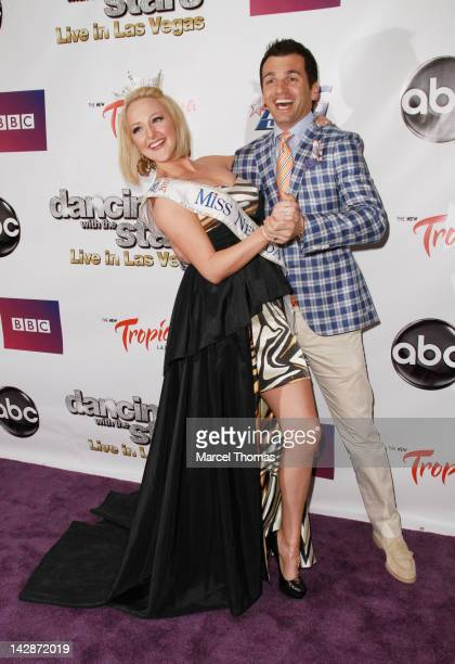 """Dancer Tony Dovolani and Miss Nevada Alana Lee attend the opening night of """"Dancing With The Stars: Live In Las Vegas"""" at The Tropicana on April 13,..."""