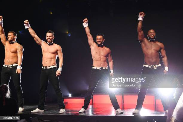 Dancer Tony Dovolani from Dancing With The Stars performs in Chippendales at Rio AllSuite Hotel Casino on April 20 2018 in Las Vegas Nevada