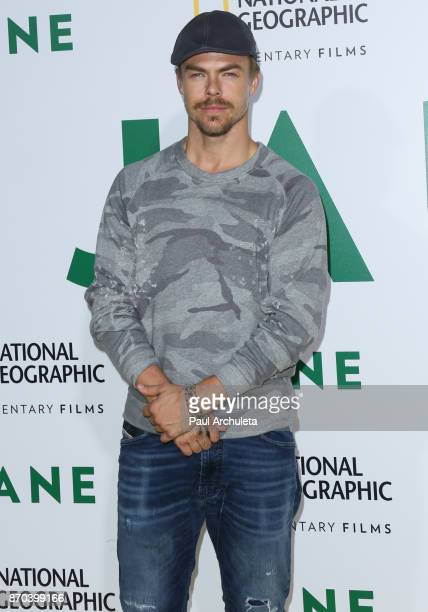 Dancer / TV Personality Derek Hough attends the premiere of National Geographic documentary films' 'Jane' at the Hollywood Bowl on October 9 2017 in...