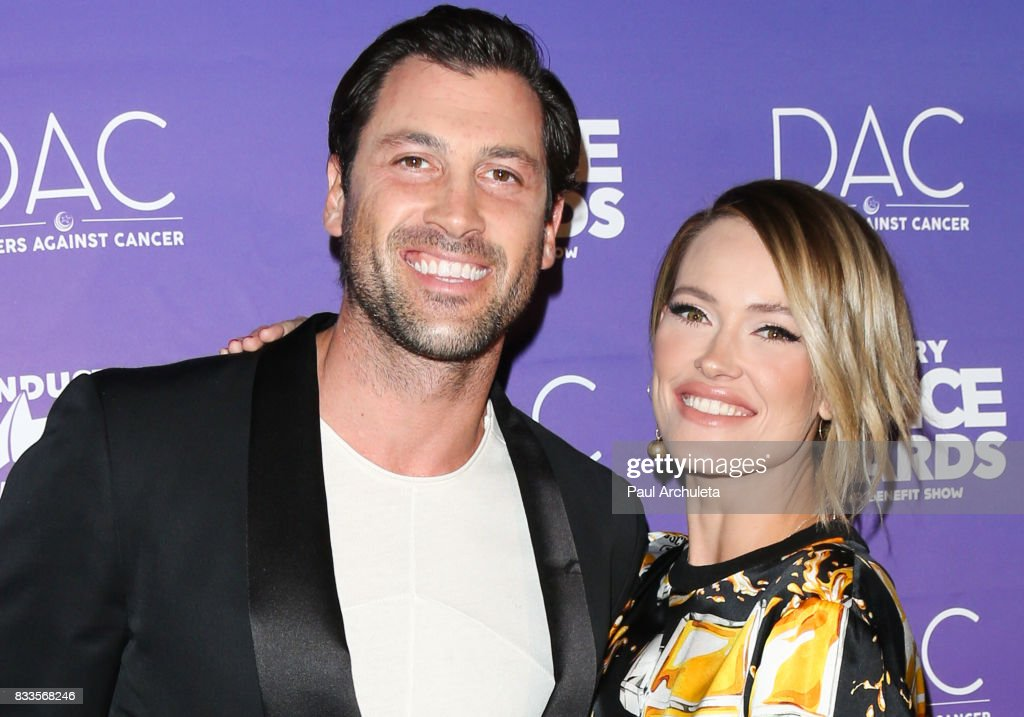 Dancer / TV Personality Maksim Chmerkovskiy (L) and Dancer / TV Personality Peta Murgatroyd (R) attend the 2017 Industry Dance Awards and Cancer Benefit show at Avalon on August 16, 2017 in Hollywood, California.