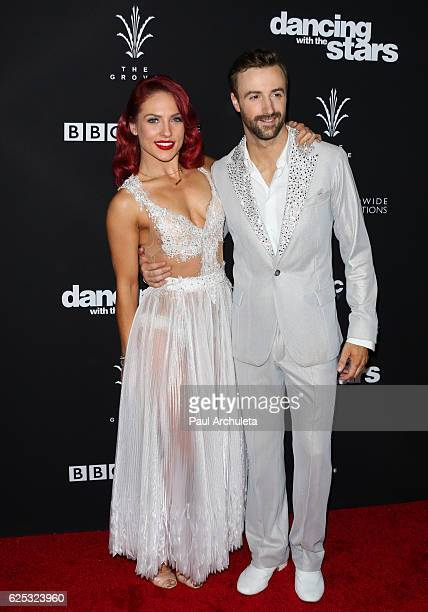 Dancer / TV Personality Sharna Burgess and professional race car driver James Hinchcliffe attends ABC's Dancing With The Stars season 23 finale at...