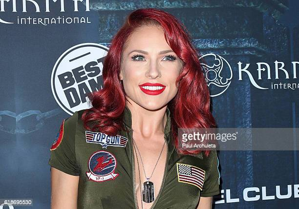 Dancer / TV Personality Sharna Burgess attends Maxim Magazine's annual Halloween party on October 22 2016 in Los Angeles California