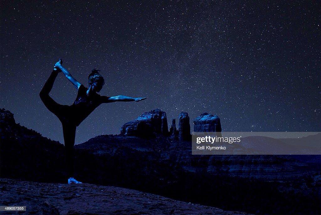 Dancer under the stars in Sedona, Arizona - Cathedral Rock