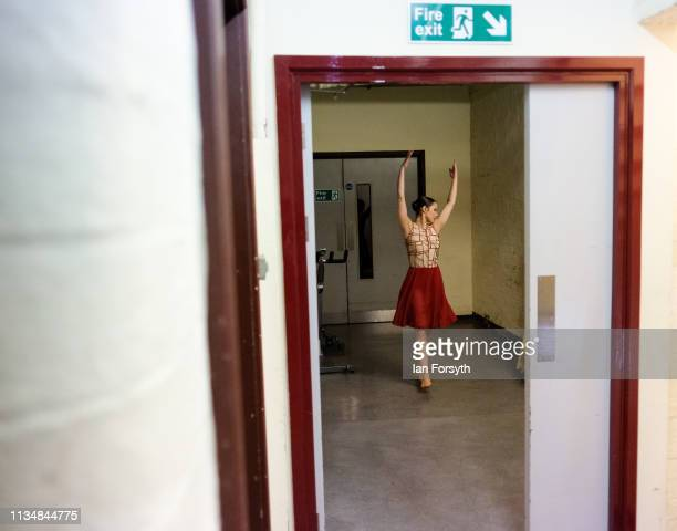 A dancer warms up back stage during the World Premier of Northern Ballet's performance of 'Victoria' at Leeds Grand Theatre on March 09 2019 in Leeds...