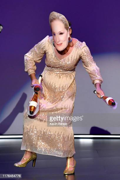 A dancer wearing a mask of Meryl Streep performs onstage during the 71st Emmy Awards at Microsoft Theater on September 22 2019 in Los Angeles...