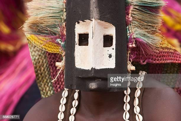 Dancer wearing Kananga mask at the Dama celebration in Tireli Mali