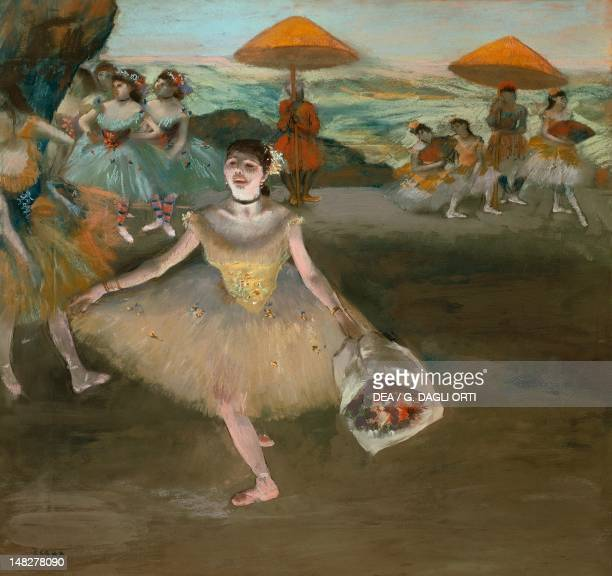 Dancer with a bouquet on the stage by Edgar Degas pastel on paper mounted on canvas 72x77 cm Paris Musée D'Orsay