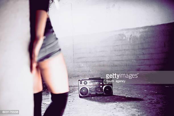 Dancer woman and radio