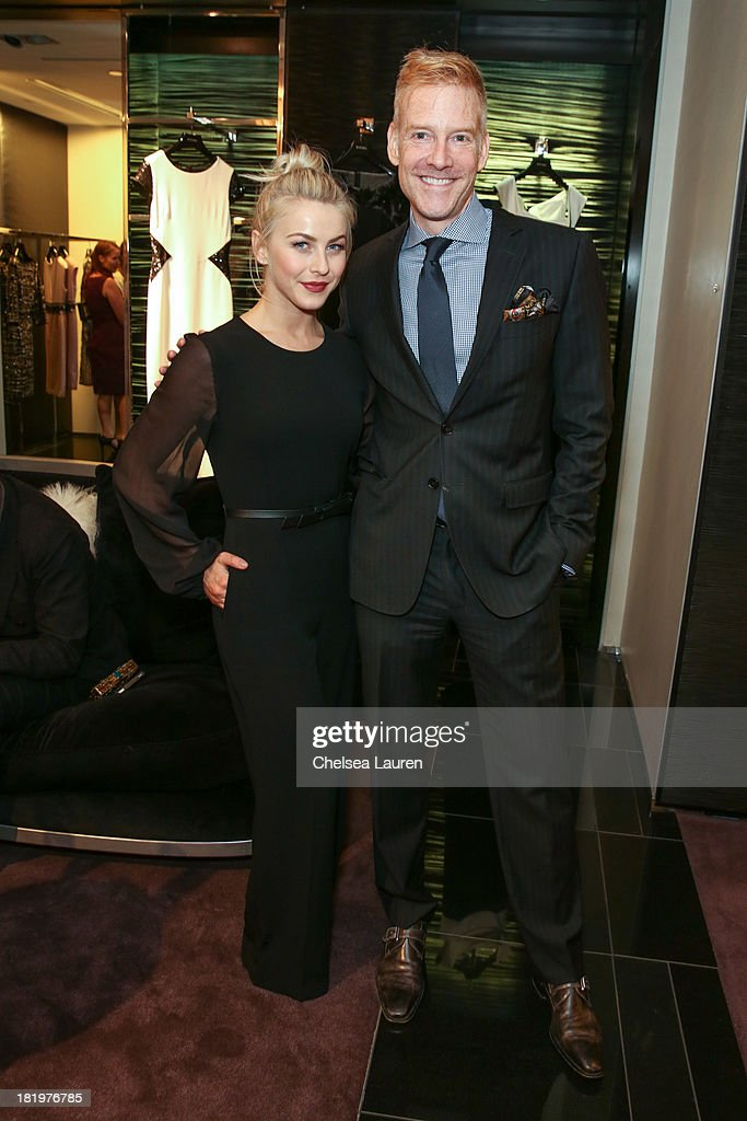 Dancer/actress Julianne Hough (L) and ESCADA W Magazine international advertising director Rob Rowe attend ESCADA and W Magazine's celebration of Cool Earth with hosts Daniel Wingate, Suzanne Todd and Jennifer Todd at Escada Boutique on September 26, 2013 in Beverly Hills, California.