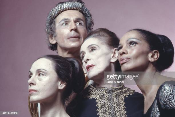 Dancer/choreographer Martha Graham photographed with principal dancers in New York City in 1973