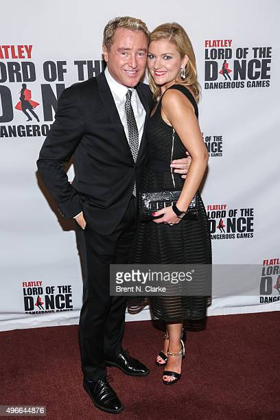 Dancer/choreographer Michael Flatley and wife Niamh O'Brien attend the Lord of the Dance Dangerous Games Broadway opening night at the Lyric Theatre...