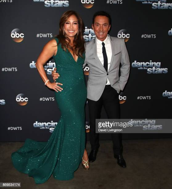 Dancer/competition judge Carrie Ann Inaba and competition judge Bruno Tonioli attend 'Dancing with the Stars' season 25 at CBS Televison City on...