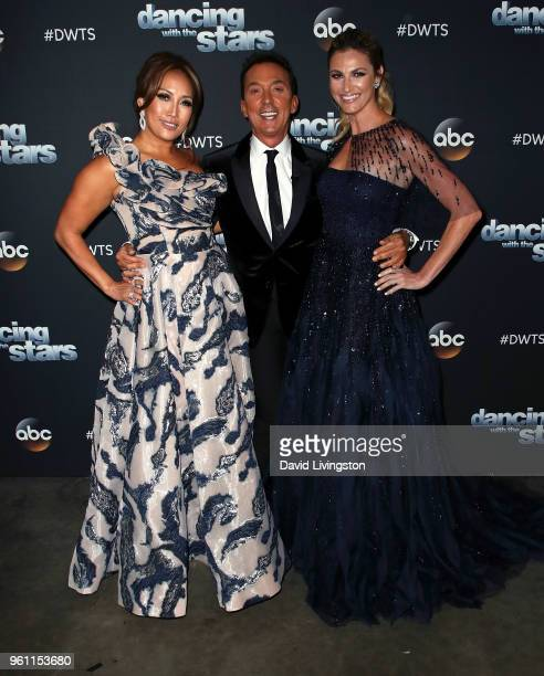 Dancer/competition judge Carrie Ann Inaba choreographer/competition judge Bruno Tonioli and TV personality Erin Andrews pose at ABC's 'Dancing with...