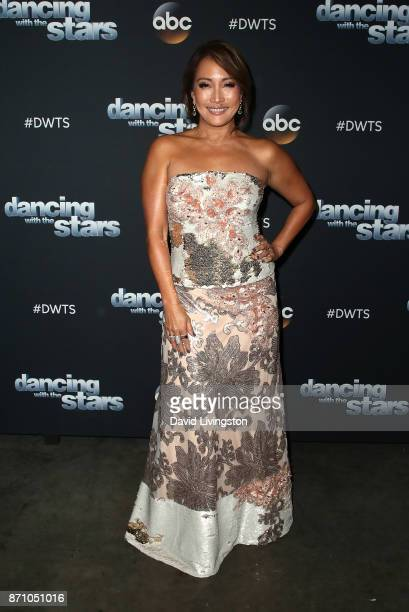 Dancer/competition judge Carrie Ann Inaba poses at 'Dancing with the Stars' season 25 at CBS Televison City on November 6 2017 in Los Angeles...