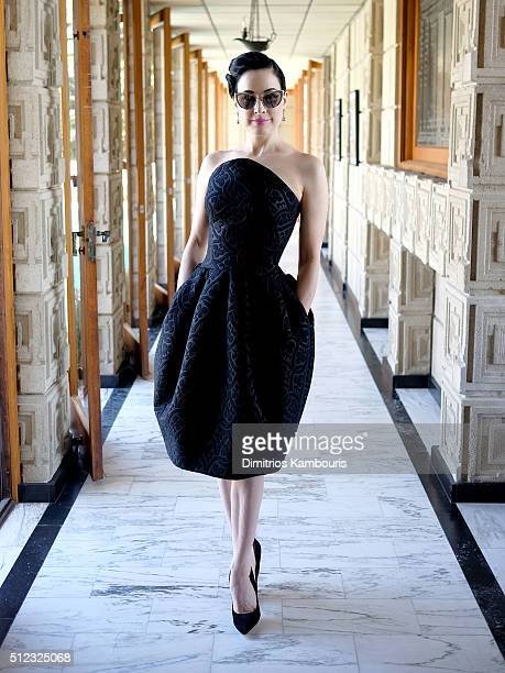 Dancer/model Dita Von Teese attends the MAC Cosmetics Zac Posen luncheon at the Ennis House hosted by Karen Buglisi Weiler Demi Moore Jacqui Getty on...