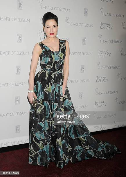 Dancer/model Dita Von Teese attends the The Art Of Elysium 8th Annual Heaven Gala at Hangar 8 on January 10 2015 in Santa Monica California