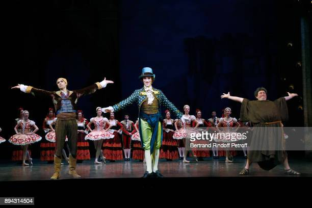 Dancers acknowledge the applause of the audience at the end of 'Don Quichotte' during the 32th 'Reve d'Enfants' Charity Gala at Opera Bastille on...