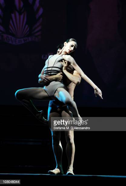 Dancers Alessandro Macario and Anbeta Toromani perform during the Giffoni Experience on July 22 2010 in Giffoni Valle Piana Italy