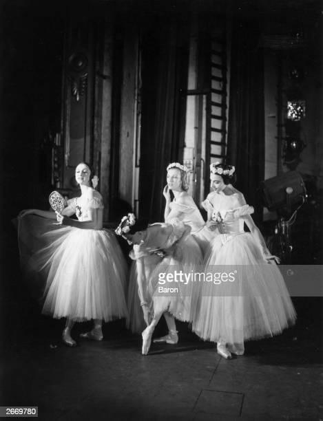 Dancers Alexandra Danilova , Alicia Markova, Tatiana Riabouchinska and Tatiana Krassovska backstage at the Festival Ballet.