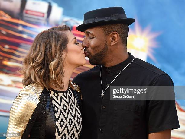 Dancers Allison Holker and husband Stephen Laurel tWitch Boss arrive at the premiere of Sony Pictures' Ghostbusters at TCL Chinese Theatre on July 9...