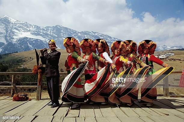 Dancers and Flutist at Jade Dragon Snow Mountain