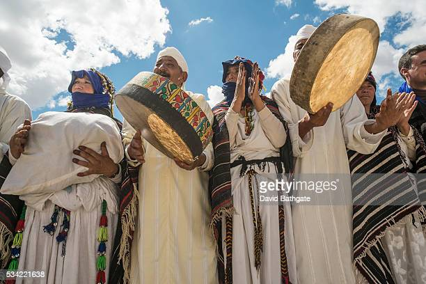 Dancers and musicians perform in traditional Berber costume at the Imilchil Morocco Marriage and Betrothal Festival
