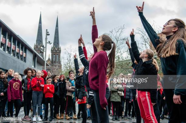 Dancers are seen performing in the middle of a square at the shopping mall during the event. One Billion Rising Event takes place for the seventh...
