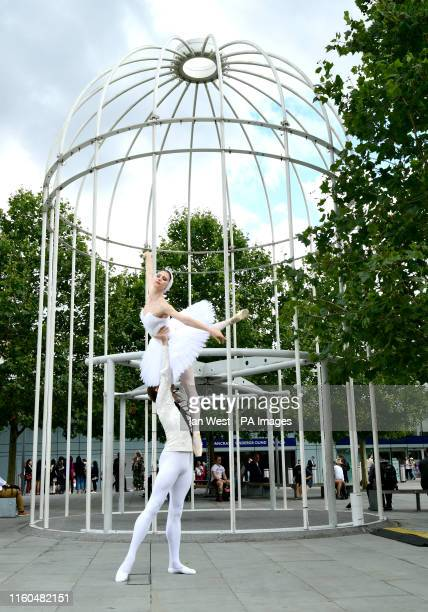 Dancers Artem Ovcharenko and Anna Tikhomirova during a photo call ahead of performances by the Bolshoi Ballet at the Royal Opera House and the Royal...
