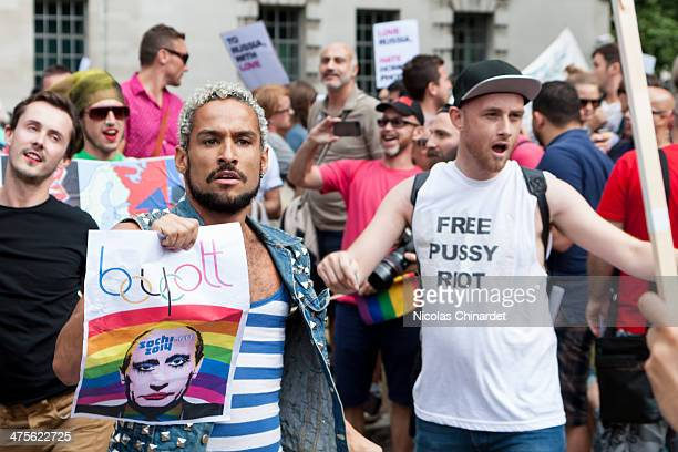 Dancers at a protest against the anti-gay propaganda law in Russia, opposite Downing Street