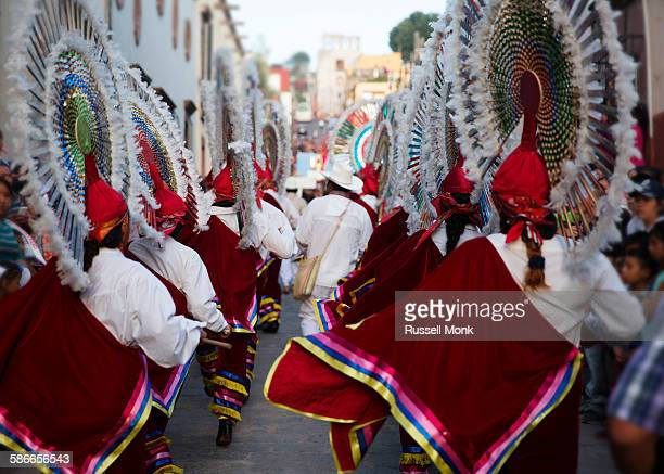dancers at a traditional parade - mexico stock pictures, royalty-free photos & images