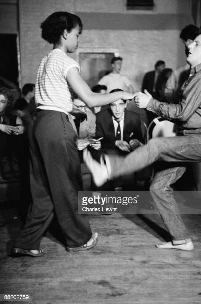 Dancers at Cy Laurie's Blue Heaven jazz club in Soho London 10th July 1954 Original publication Picture Post 7208 Blue Heaven In The Basement pub 1954