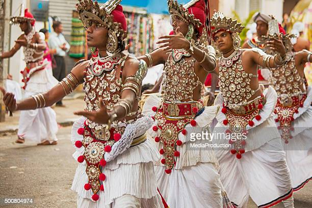 dancers at full moon festival in kandy srilanka - kandy kandy district sri lanka stock pictures, royalty-free photos & images