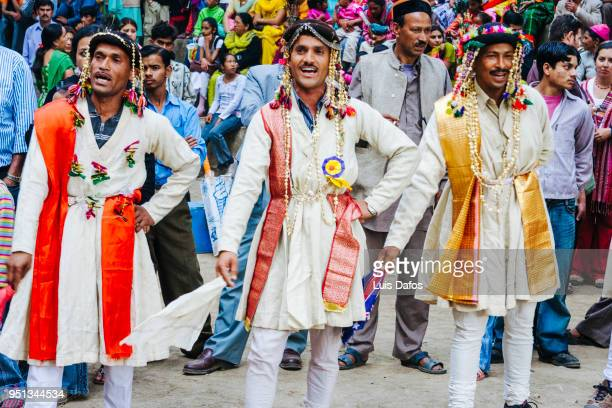 dancers at the festival in india - dafos stock photos and pictures