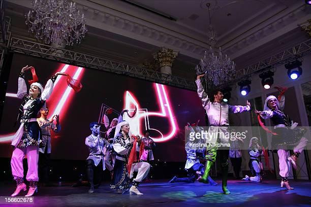 Dancers at the launch of the Four Seasons Hotel Baku on November 17 2012 in Baku Azerbaijan