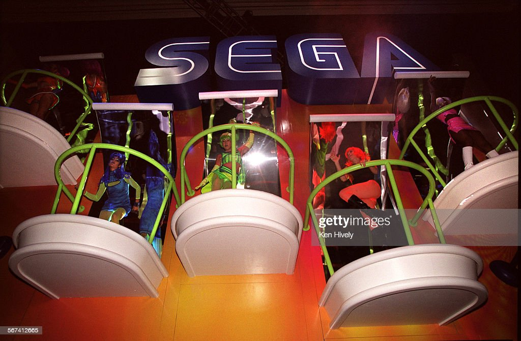 Dancers at the Sega game booth during the Electronic Entertainment Expo, May 11, 2000 at the Los Ang : News Photo
